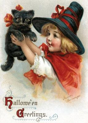 Girl with Black Cat Halloween Greeting Card [With Envelope]画像