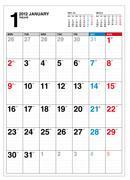 【送料無料】シンプルカレンダー(B3・月曜始まり)(2012年)