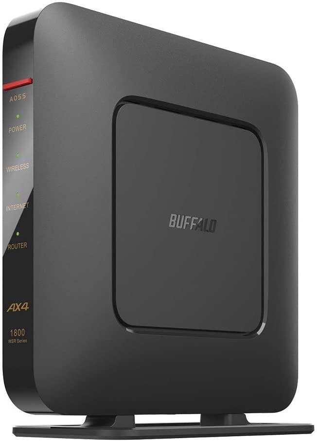 バッファロー 無線LAN親機 WiFiルーター 11ax/ac/n/a/g/b 1201+573Mbps WiFi6/Ipv6対応 ネット脅威ブロッカーベーシック搭載 ブラック WSR-1800AX4S/DBK