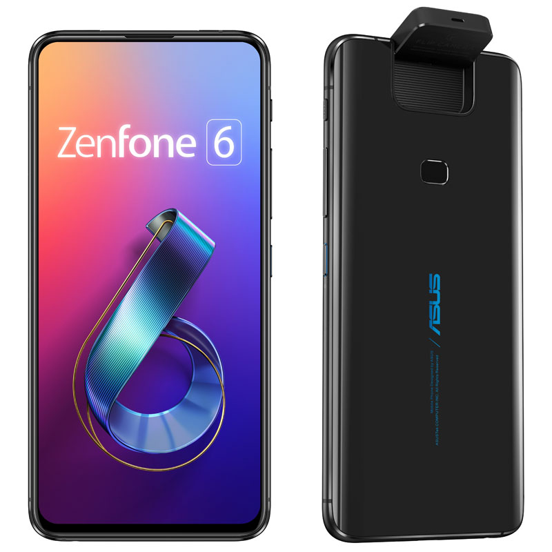 "<Zenfone 6>ミッドナイトブラック/6.4""2340x1080(FHD+)/Android 9.0/Qualcomm Snapdragon 855(オクタコアCPU)2.84GHz/LPDDR4X 6GB/128GB(UFS 2.1)/802.11"