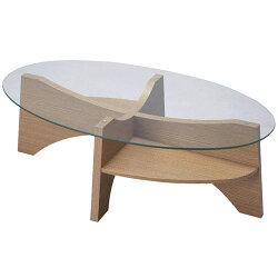 ガラスリビングテーブル幅105cmナチュラルle-454na