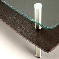ガラスリビングテーブルウェーブ幅110cmglt-2260