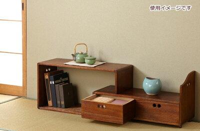 送料無料 スライド式置き床 大 置床 引出し 2杯 飾り棚 木製 天然木 桐製 スライド 和室…