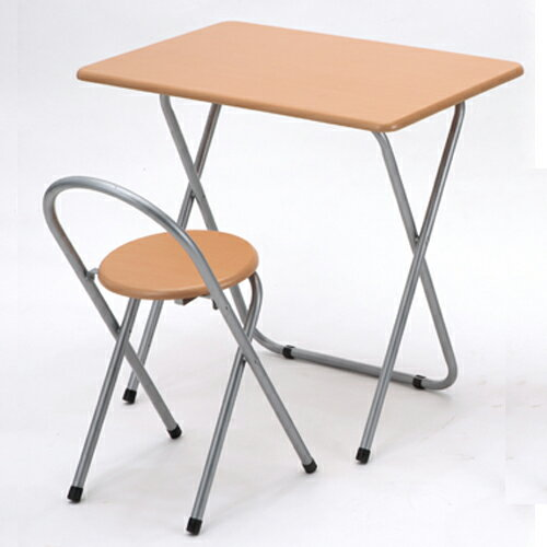 送料無料 完成品 折りたたみデスク&チェアセット 幅80cm ナチュラル デスク 机 椅子 イス いす チ...