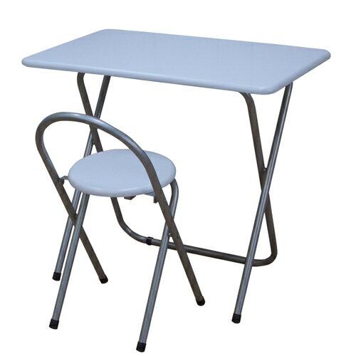 送料無料 完成品 折りたたみデスク&チェアセット 幅80cm ホワイト デスク 机 椅子 イス いす チェ...