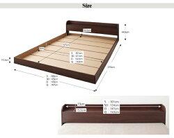 送料込クイーンベッドマットレス付き棚付きベッドコンセント付きベッド電源付きベッド木製ベッドフロアベッドデザインベッドローベッドヘッドボード棚コンセント付き