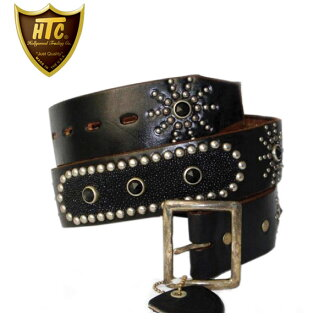 Regular handling shop HTC (Hollywood Trading Company) the Oval Black Stingray Belt (オーバルブラックスティングレイ belts) black leather x ブラックラインス tone fs3gm