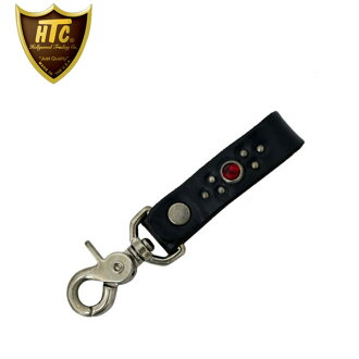 Regular handling HTC(Hollywood Trading Company) #B three-quarters Key Holder(#B three-quarters key ring) black leather x ruby fs3gm
