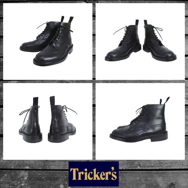正規取扱店 Tricker's トリッカーズ 2508M COUNTRY BROGUE(カントリーブローグ) ダブルレザーソール ブラックボックスカーフ TK009