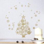 【メール便発送対応】きらきらクリスマスウォールステッカーオーナメントクリスマス雪だるま・クリスマスツリー・輪飾りと天使ウォールステッカーA4サイズ