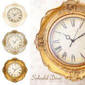 スプレンディッドデコウォールクロック掛け時計ホワイト/ゴールドアンティーク調クラシカルゴージャスエレガントロココ調おしゃれ高級感