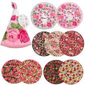 薔薇プリントラウンドタオル吊り下げエレガント華やかローズロマンチック薔薇柄花柄薔薇とレースと天使のお店