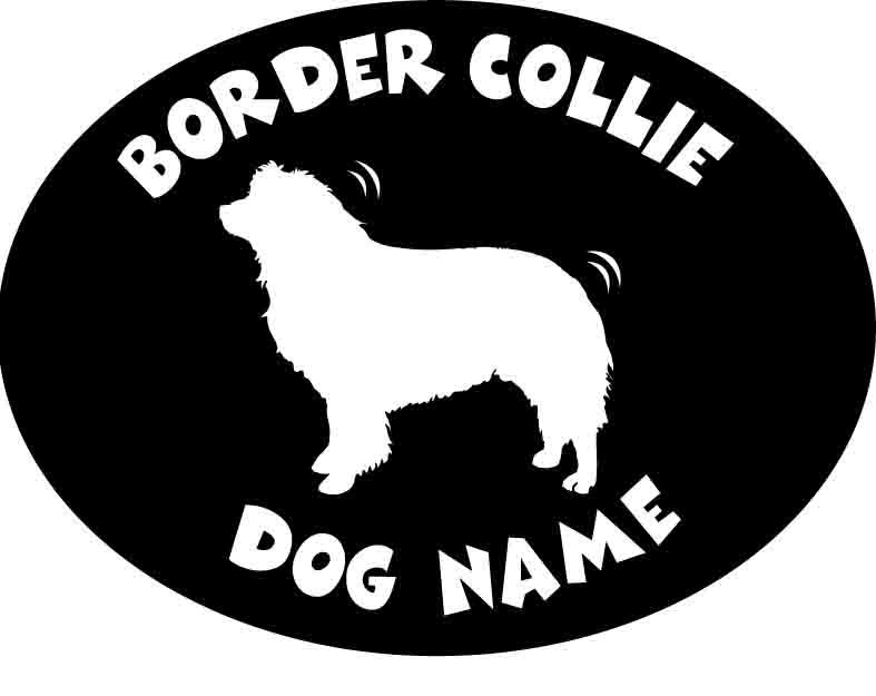 オリジナル犬種別ステッカー>愛犬名前入りカットステッカー「は行」>愛犬名前入りステッカー(ボーダーコリー)