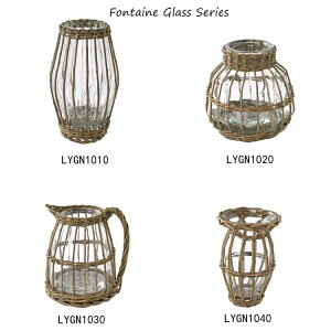 FONTAINEGLASSBOTTLE【LYGN1050】【花びん花瓶フラワーベースガラスガラス瓶ビン柳のカゴガラスベースナチュラルかわいい容器ガーデンガーデニングディスプレイスパイスSPICE】