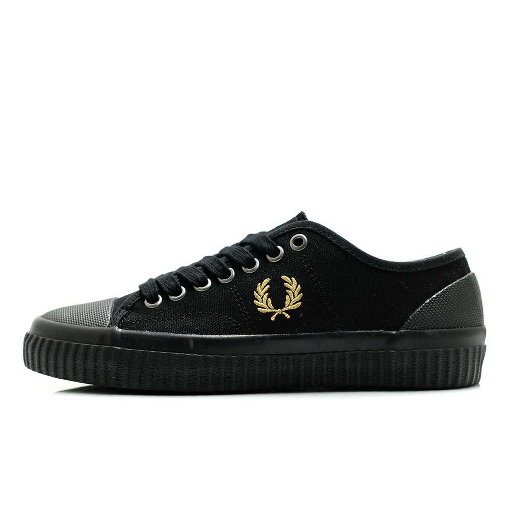 メンズ靴, スニーカー  FREDPERRY HUGHES LOW CANVAS BLACK CHAMPAGNE B8108-157