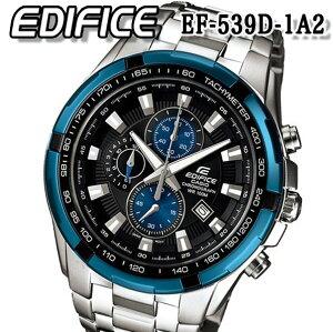 あす楽 送料無料 CASIO カシオ EDIFICE エディフィス EF-539D-1A2 メンズ 腕時計 アナログ 10気圧防水 ダイバー ブラック 黒 ブルー 青 100防水 クロノグラフ
