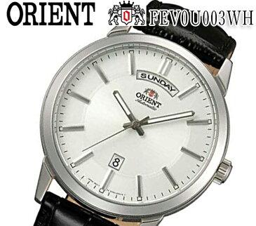 あす楽 送料無料 新品 オリエント ORIENT クラシック オートマチック FEV0U003WH レザー ベルト 自動巻 メンズ 腕時計 カレンダー プレゼント