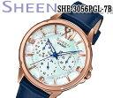 あす楽 送料無料 カシオ CASIO SHEEN シーン レディース 腕時計 アナログブルー スワロフスキー カレンダー SHE-3056PGL-7B レザーベルト