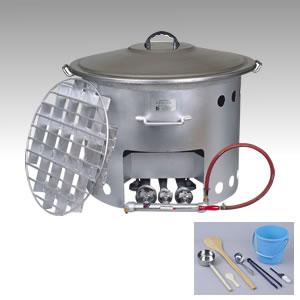 屋外での大量炊き出し可能!ガスでも、薪でも!屋外用煮炊鍋【炊き出しくん】55L