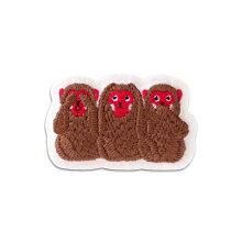小物まめふくブローチ三猿日本JAPAN雑貨刺繍無病息災縁起開運手作りハンドメイド贈り物ギフトさる