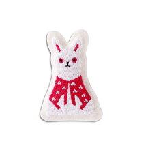 小物まめふくブローチうさぎ日本JAPAN雑貨刺繍飛躍向上縁起開運手作りハンドメイド贈り物ギフト