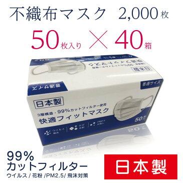 日本製 不織布マスク 三層構造 普通サイズ 50枚×40箱(2000枚) 使い捨てマスク