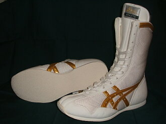ASICS boxing shoes (white / gold line)