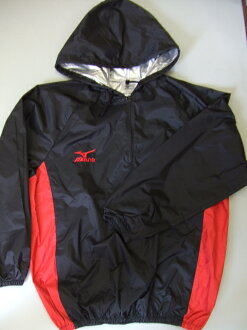 (a product made in Mizuno / Japan) of the arrival at weight loss (black x red) top and bottom set weight loss suit [it is with a hood, and a new color appears] MIZUNO shop original hood