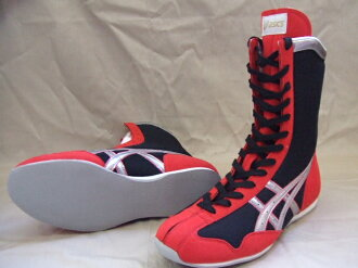 Asics boxing shoes (black x red x silver line)