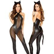 海外ブランドコスチューム大人コスプレレディース衣装ブラックフェイクレザー&ネットキャット尻尾付きキャットスーツ猫耳2点セット仮装パーティー