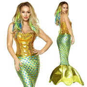 コスチューム海外コスプレ衣装童話豪華セクシーマーメイド人魚コスチューム2点セット/仮装パーティー・イベント