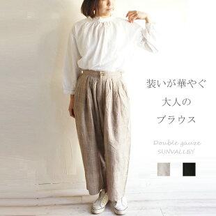 日本製品染めダブルガーゼネックフリルプルオーバーブラウスSUNVALLEYサンバレーSK7009204sunvalleyレディースファッション服大人のナチュラル服ゆったりリンネルナチュランオールシーズンきれいめ大人コーデ長袖