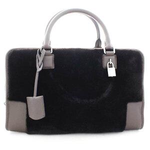 [二手货] LOEWE罗意威Amazona 36手提包(缩写)女士暗棕色小牛皮人造毛皮352.58A22M