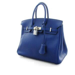 [二手] HERMES爱马仕Birkin 25手提袋手提袋皮革□R刻花2014年制造蓝色Safir蓝色Vaux Swift
