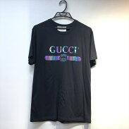 GUCCIグッチ548334メタリックロゴTシャツSサイズメンズレディースブラック【中古品】【21-281】