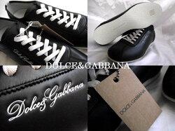DOLCE&GABBANAドルガバドルチェ&ガッバーナブラックレザーメンズ靴シューズ8/4227cm【新品】【未使用品】【中古】