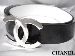 CHANELシャネルココマークバックルベルトリバーシブルホワイト×ブラック未使用【中古】新品05P23Aug15