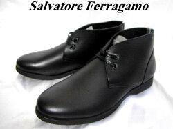 SalvatoreFerragamoフェラガモロゴ入りメンズシューズ靴アンクルブーツブラックカーフレザー6.5【新品】【未使用品】【中古】