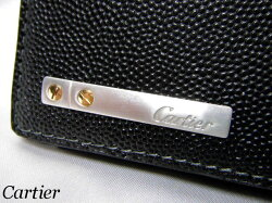 Cartierカルティエ二つ折り財布サントス小銭入れ付L3000772ブラックレザーメンズ【新品】【未使用品】【中古】05P05Oct15