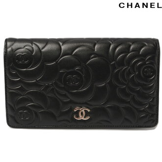 Chanel CHANEL long wallet Camellia-press A36544 lambskin black silver fittings