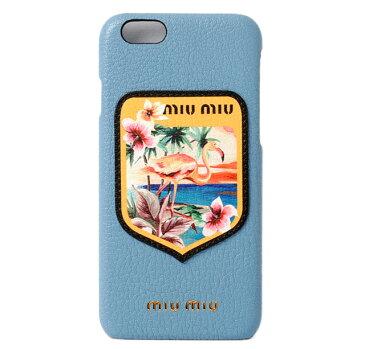 ミュウミュウ iPhone 6 ケース/6sケース/ miumiu 5ZH008 MADRAS BLASON/マドラス MARE/ライトブルー 未使用【中古】