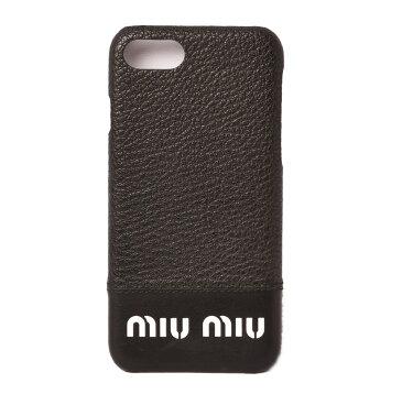 ミュウミュウ iPhone8ケース/iPhone7ケース/6/6S miumiu 5ZH035 MADRAS CITY/マドラス NERO/ブラック 未使用【中古】