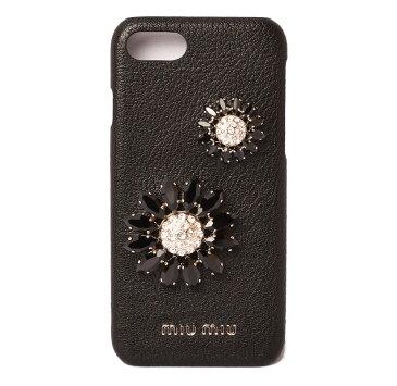 ミュウミュウ iPhone8ケース/iPhone7ケース/6/6S miumiu 5ZH035 MADRAS/マドラス フラワー/ラインストーン NERO/ブラック 未使用【中古】