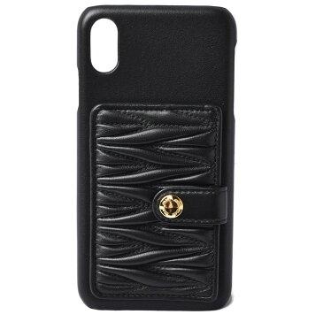 【クーポンGETで最大2千円OFF】ミュウミュウ iPhone XS MAXケース/iPhone カバー miumiu 5ZH083 マテラッセ ポケット付 NERO/ブラック 未使用【中古】 父の日