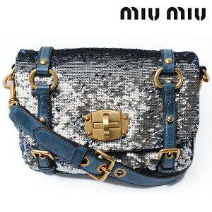 Miu Miu Shoulder Bag/miumiu Clutch Bag with Strap Sequin Denim Blue RT0460 PAILLETTES DENIM [Used]