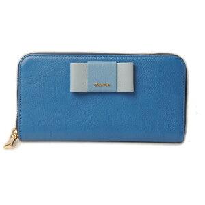 Miu Miu钱包miumiu长钱包5ML506 MADRAS FIOCCO /马德拉斯山羊皮MAREA/MARE蓝色系统未使用[二手]礼物礼物