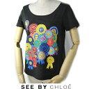 シーバイクロエ 半袖 Tシャツ SEE BY CHLOE 缶バッジ/ブラックサイズ38