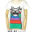 シーバイクロエ 半袖 Tシャツ SEE BY CHLOE キャット/猫ホワイト サイズ40