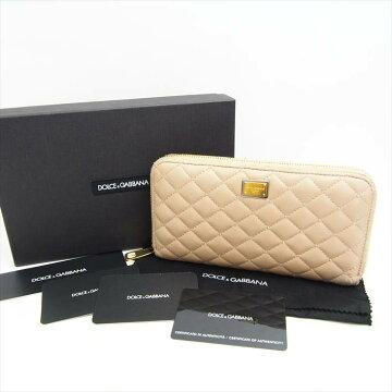 Dolce&Gabbanaドルチェ&ガッバーナP.FOGLIOZIPAROUNDPELLETRAPラウンドファスナー長財布【中古】