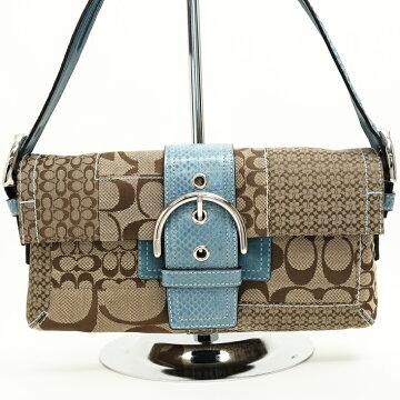 COACH coach semi-shoulder bag signature semi-shoulder bag 3689 canvas × python [beautiful goods] [pre-owned]